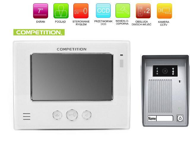 "Videodomofon kolorowy 7"" LCD głośnomówiący MT810C-CK2+SAC35C-CK Competition"