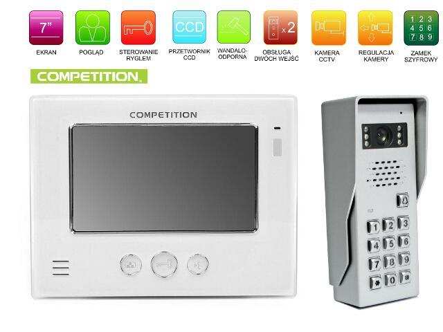 "Videodomofon kolorowy 7"" LCD głośnom. + zamek szyfr. MT810C-CK2+SAC50C-CK Competition"