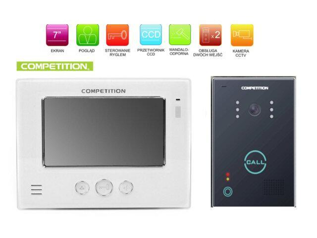 "Videodomofon kolorowy 7"" LCD głośnomówiący MT810C-CK2+SAC651C-CK Competition"