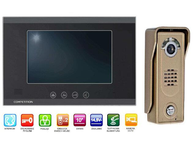 "Videodomofon kolorowy 10"" LCD głośnomówiący MT880C-CK2+SAC5C-CK Competition"