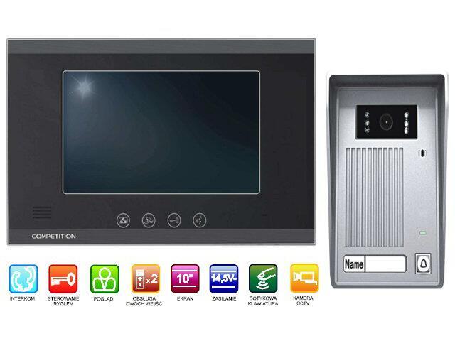 "Videodomofon kolorowy 10"" LCD głośnomówiący MT880C-CK2+SAC35C-CK Competition"