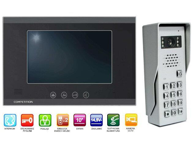"Videodomofon kolorowy 10"" LCD głośnom. + zamek szyfr. MT880C-CK2+SAC50C-CK Competition"