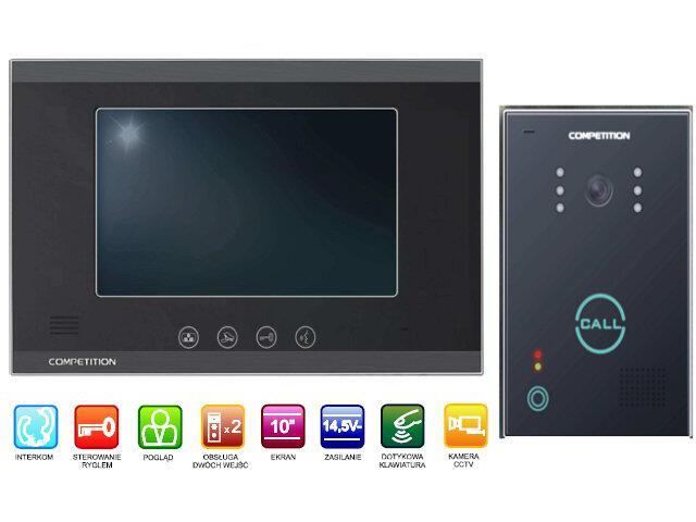 "Videodomofon kolorowy 10"" LCD głośnomówiący MT880C-CK2+SAC651C-CK Competition"