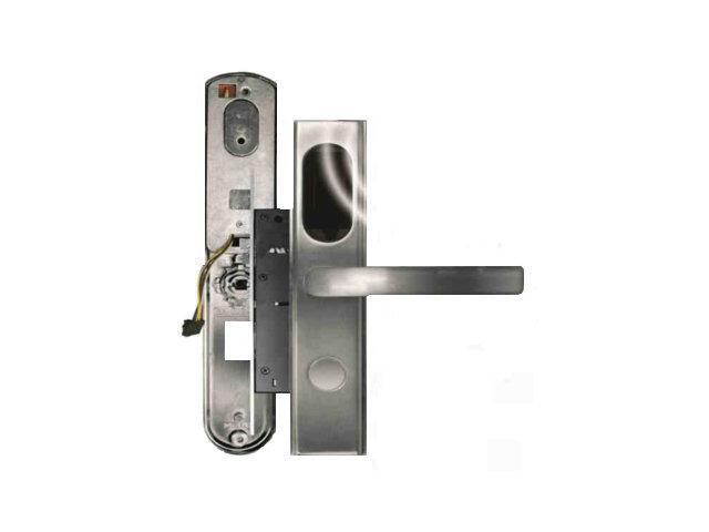 Klamka drzwiowa szyld długi do zamka elektromech. ELH-10B9 SILVER czytnik kart RF ID Eura-Tech