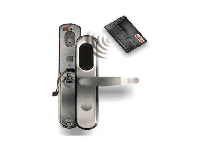 Klamka drzwiowa szyld długi do zamka elektromech. ELH-20B9 SILVER czytnik kart RF ID Eura-Tech