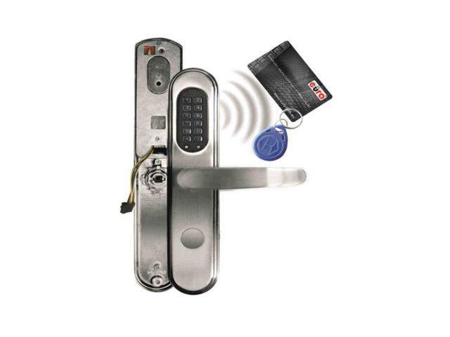 Klamka drzwiowa szyld długi do zamka elektromech. ELH-40B9 SILVER czytnik kart RF ID Eura-Tech