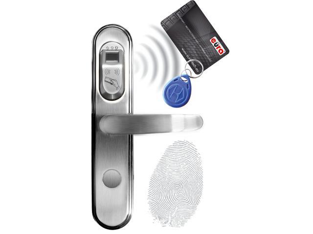 Klamka drzwiowa szyld długi do zamka elektromech. ELH-50B9 SILVER czytnik kart RF ID Eura-Tech