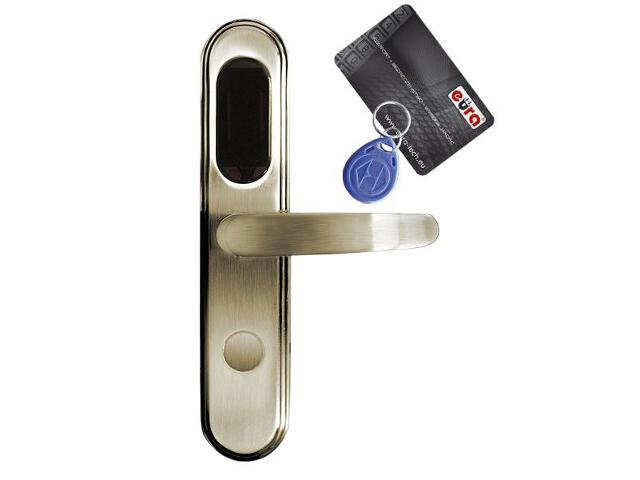 Klamka drzwiowa szyld długi do zamka elektromech. ELH-20B9 BRASS czytnik kart RF ID Eura-Tech