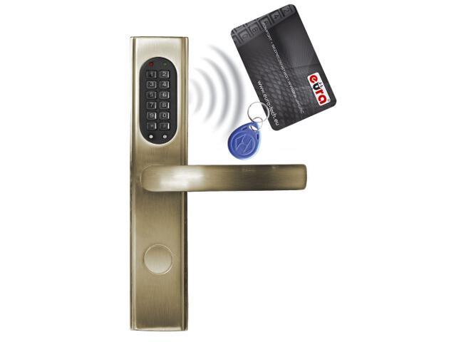 Klamka drzwiowa szyld długi do zamka elektromech. ELH-30B9 BRASS czytnik kart RF ID Eura-Tech
