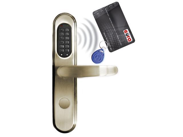 Klamka drzwiowa szyld długi do zamka elektromech. ELH-40B9 BRASS czytnik kart RF ID Eura-Tech