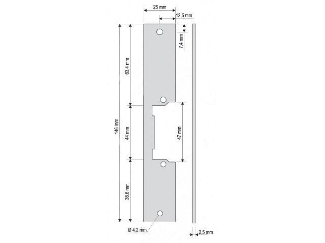 Płaskownik do rygla krótki PR-01G2 Eura-Tech