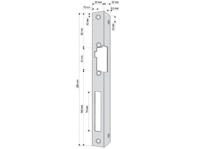 Kątownik do rygla lewy długi KR-04G2 Eura-Tech