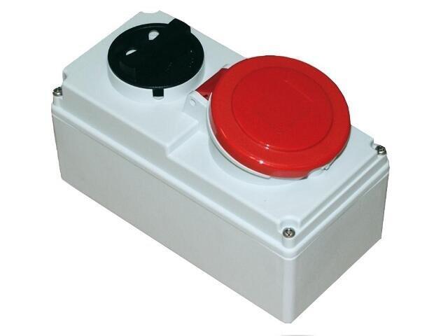 Gniazdo siłowe z wyłącznikiem 0-1 małe blok. mechaniczna 16A 400V 3P+Z+N IP44 PCE