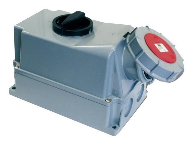 Gniazdo siłowe z wyłącznikiem 0-1 duże blok. mechaniczna 63A 400V 3P+Z+N IP67 PCE