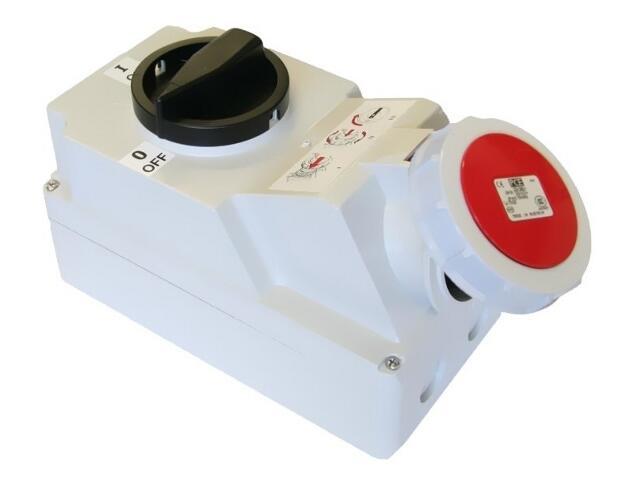 Gniazdo siłowe z wyłącznikiem 0-1 duże blok. mechaniczna 16A 400V 3P+Z+N IP 67 PCE