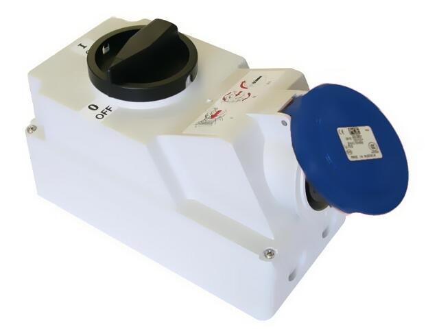 Gniazdo siłowe z wyłącznikiem 0-1 duże blok. mechaniczna 16A 230V 2P+Z IP44 z klapką PCE