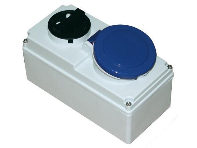 Gniazdo siłowe z wyłącznikiem 0-1 małe blok. mechaniczna 16A 230V 3P+Z IP44 PCE