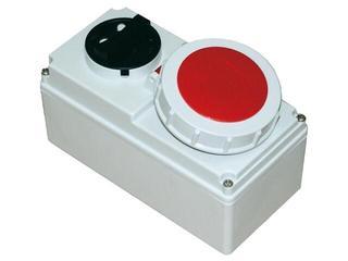 Gniazdo siłowe z wyłącznikiem 0-1 małe blok. mechaniczna 16A 400V 3P+Z IP67 PCE