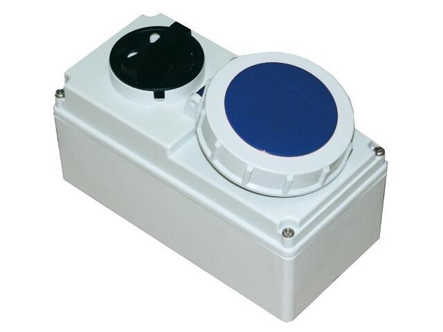 Gniazdo siłowe z wyłącznikiem 0-1 małe blok. mechaniczna 32A 230V 2P+Z IP67 PCE