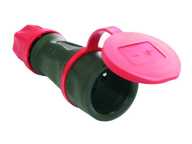 Gniazdo przenośne gumowe 1-fazowe z bolcem+zatyczka (estradowe) PCE