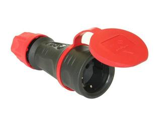 Gniazdo przenośne gumowe 1-fazowe z zab. bocznym VDE+zat.estradowe PCE