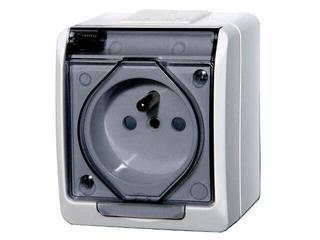 Gniazdo natynkowe HERMES poj. bryzgoszczelne IP44 z klapką GNT-2P+Z biały Elektro-plast N.