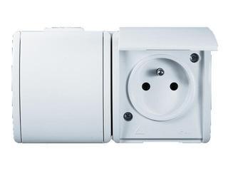Gniazdo natynkowe Protector z/u podwójne IP44 PGZ1-2/11 biały Kontakt Simon