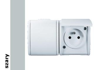 Gniazdo natynkowe Protector z/u podwójne IP44 PGZ1-2/16 szary Kontakt Simon