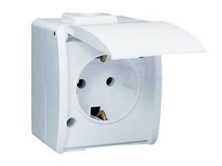 Gniazdo natynkowe Protector z/u Schuko pojedyncze IP44 PGSZ1/11 biały Kontakt Simon