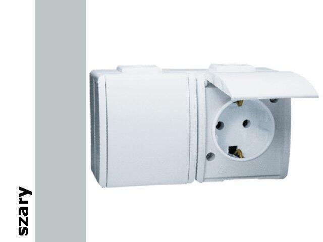 Gniazdo natynkowe Protector z/u Schuko podwójne IP44 PGSZ1-2/16 szary Kontakt Simon