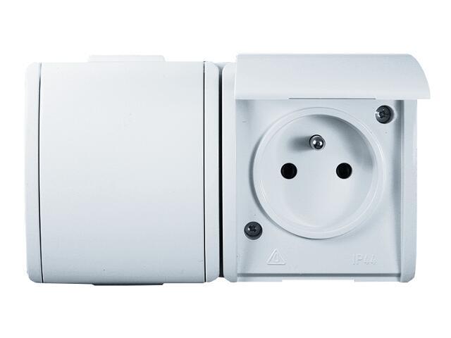 Gniazdo natynkowe Protector z/u podwójne z przesł. torów prąd. PGZ1-2z/11 biały Kontakt Simon