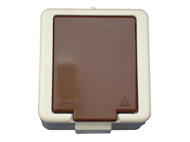 Gniazdo natynkowe JANTAR IP44 pojedyncze z/u NT-16J beżowo-brązowy Abex