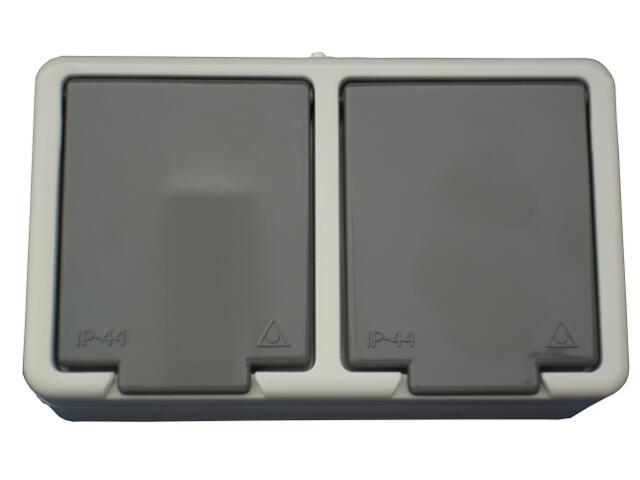 Gniazdo natynkowe JANTAR IP44 podwójne z/u NT-6J szary Abex