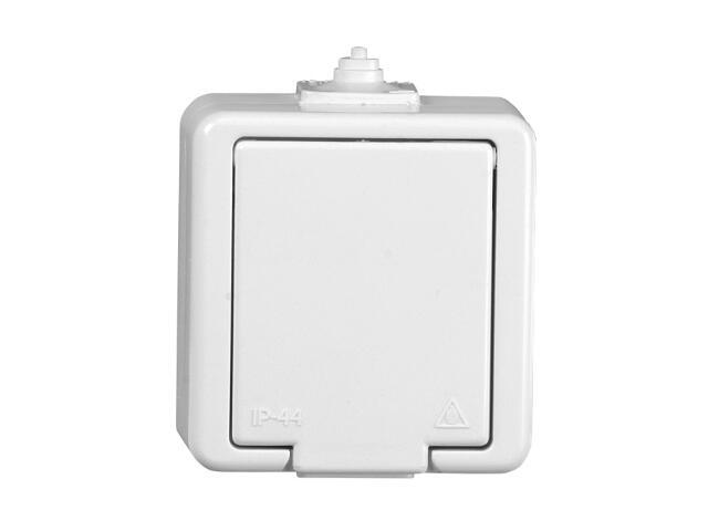 Gniazdo natynkowe JANTAR IP44 pojedyncze z/u klapka biała NT-16J biały Abex