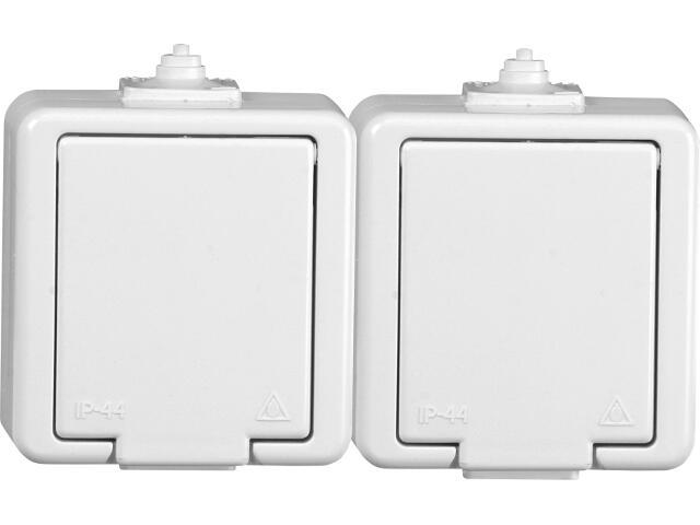 Gniazdo natynkowe JANTAR IP44 podwójne z/u klapka biała NT-6J biały Abex