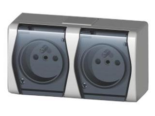 Gniazdo natynkowe HERMES 2 podwójne z/u klapka dymna GNT 2x2P+Z biały Elektro-plast N.