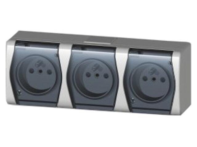 Gniazdo natynkowe HERMES 2 potrójne z/u klapka dymna GNT 3x2P+Z biały Elektro-plast N.