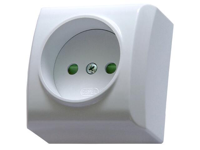 Gniazdo natynkowe BIS pojedyncze z przesłonami biały Ospel