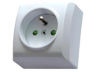 Gniazdo natynkowe BIS pojedyncze z/u z przesłonami biały Ospel