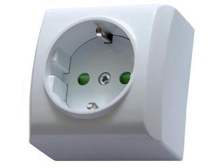 Gniazdo natynkowe BIS pojedyncze z/u schuko z przesłonami biały Ospel