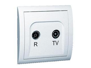 Gniazdo ścienne Classic anten. RTV przelotowe MA18/11 biały Kontakt Simon