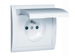 Gniazdo ścienne modułowe Classic z/u IP44 klap. biała MGZ1B.01/11 biały Kontakt Simon