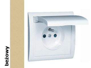 Gniazdo ścienne modułowe Classic z/u IP44 klap. biała MGZ1B.01/12 beżowy Kontakt Simon