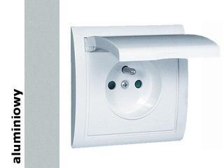 Gniazdo ścienne modułowe Classic z/u IP44 klap. biała MGZ1B.01/26 alum. srebrny Kontakt Simon