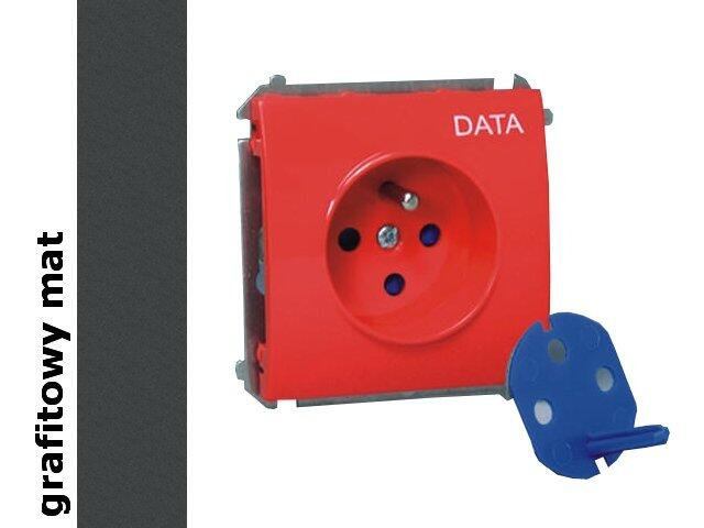Gniazdo ścienne modułowe Classic Data z/u i kluczem upraw.MGD1.01/28 matowy grafit Kontakt Simon