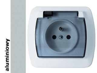 Gniazdo ścienne Akord z/u IP44 klapka dymna AGZ1Be/26a aluminium srebrny Kontakt Simon