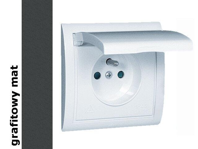 Gniazdo ścienne modułowe Classic z/u IP44 klap. biała MGZ1B.01/28 matowy grafit Kontakt Simon