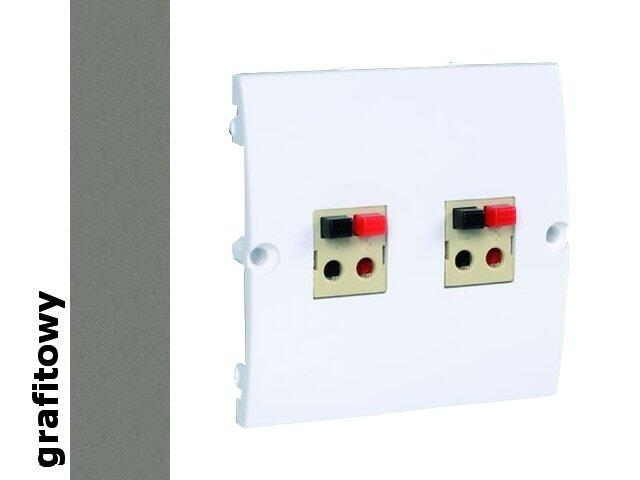 Gniazdo głośnikowe modułowe Classic podwójne bezśr. (moduł) MGLP2.02/25 grafit Kontakt Simon
