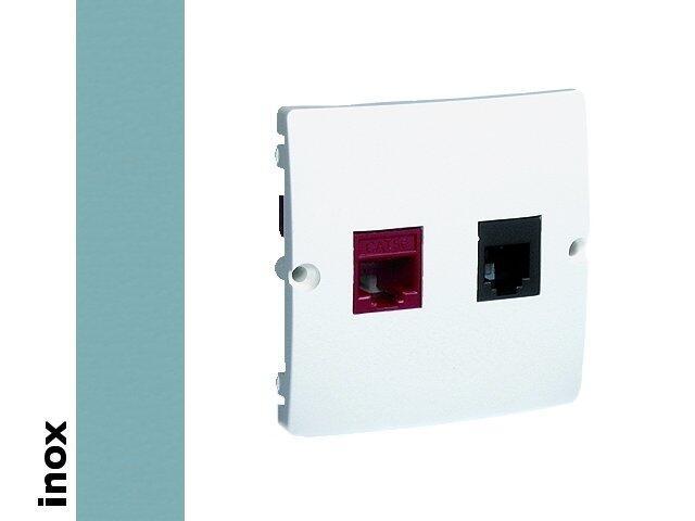Gniazdo modułowe Basic komputerowe RJ45+telef. RJ11 BMF5T.02/21 inox Kontakt Simon