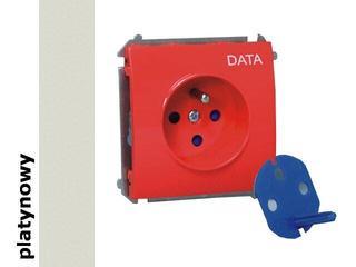 Gniazdo ścienne modułowe Classic Data z/u i kluczem upraw. MGD1.01/27 platynowy Kontakt Simon
